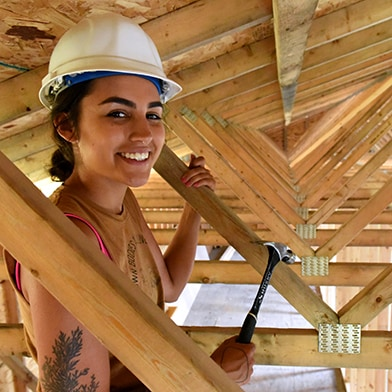 Carpentry Student in Rafter