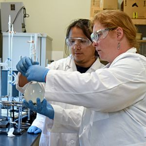 STEM faculty and student in the lab