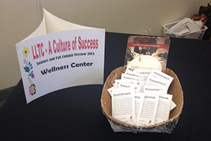 Table with brochures at a Traditional Tobacco Education event.