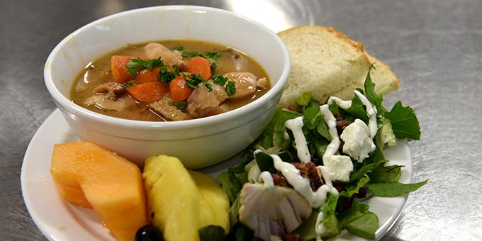 Monday Drum Feast - Soup, salad, and fruit.
